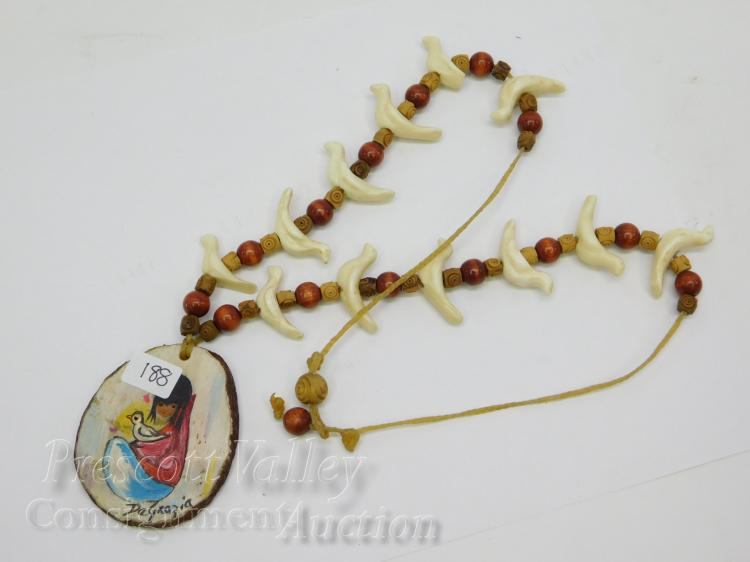 Hand Carved Wood Bead Bone Bird Fetish DeGrazia Signed Necklace