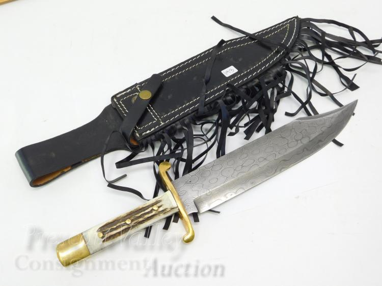 Valley Forge Custom Made Brass and Stag Handle Damascus Fixed Blade Bowie Knife and Sheath