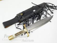 Lot 193: Valley Forge Custom Made Brass and Stag Handle Damascus Fixed Blade Bowie Knife and Sheath