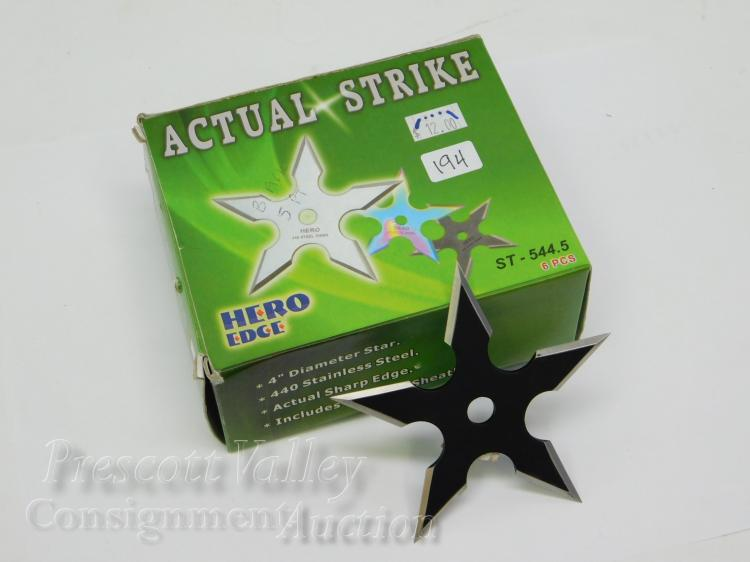 Lot of 4 Unused Hero Edge Actual Strike Ninja Throwing Stars and Sheaths