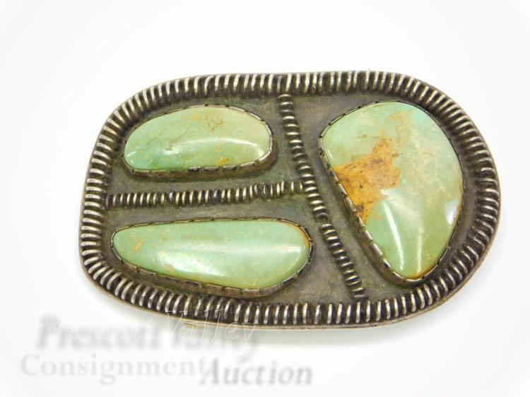 61 Gram Sterling Silver and Green Turquoise Belt Buckle Signed BB 74