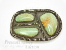 Lot 195: 61 Gram Sterling Silver and Green Turquoise Belt Buckle Signed BB 74