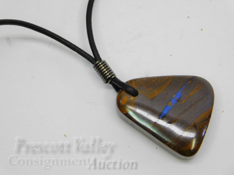 "Polished Australian Boulder Opal Pendant on 17.5"" Cord Necklace"