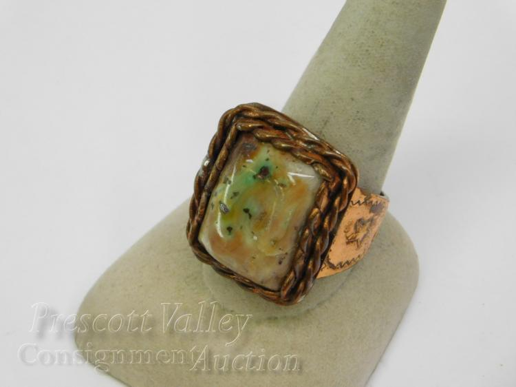 Hand Stamped Copper and Turquoise Men's Chunky Ring Sz 11