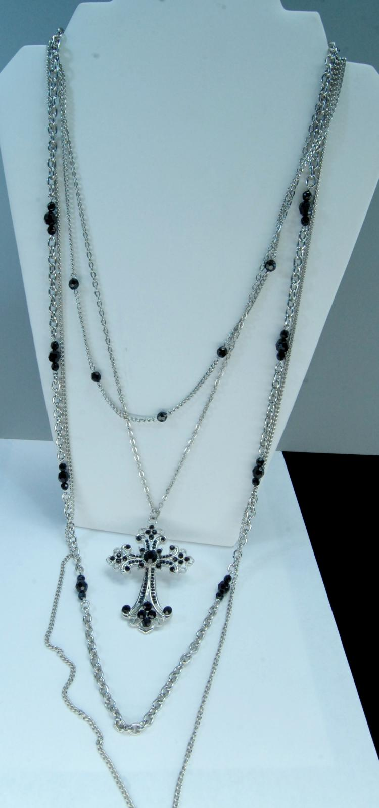Lot 2: Multi-Strand Chain W/ Cross Necklace