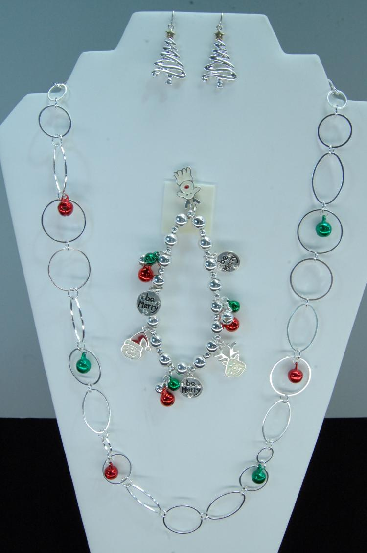 Lot 4: Christmas Ornament Charm Bracelet Earring Set