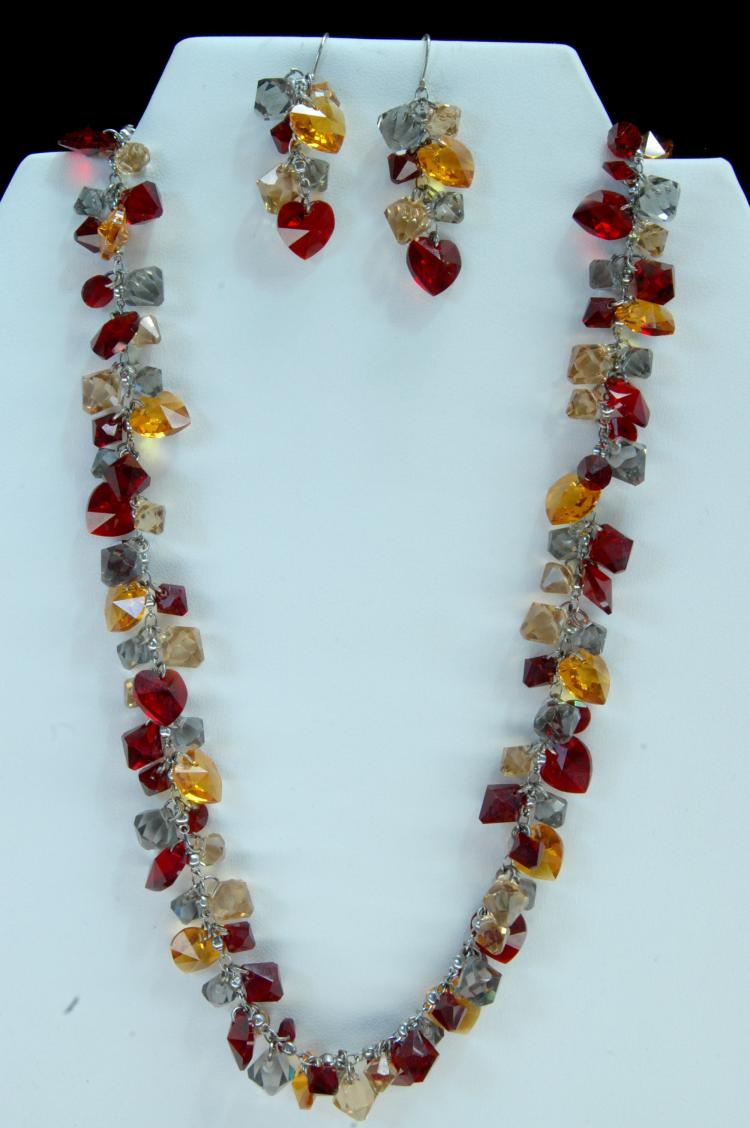 Costume Jewelry Red Orange Clear Necklace