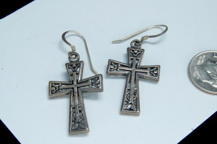 Vintage Sterling Filigree Cross Earrings
