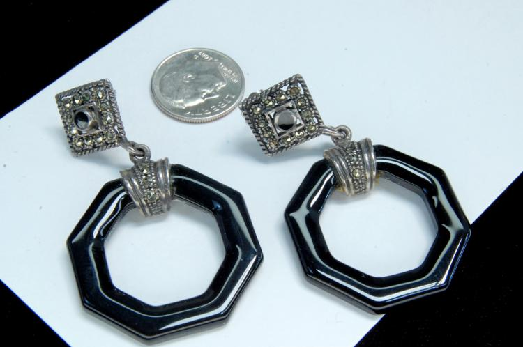 13g Sterling Marcasite Black Glass Post Earrings