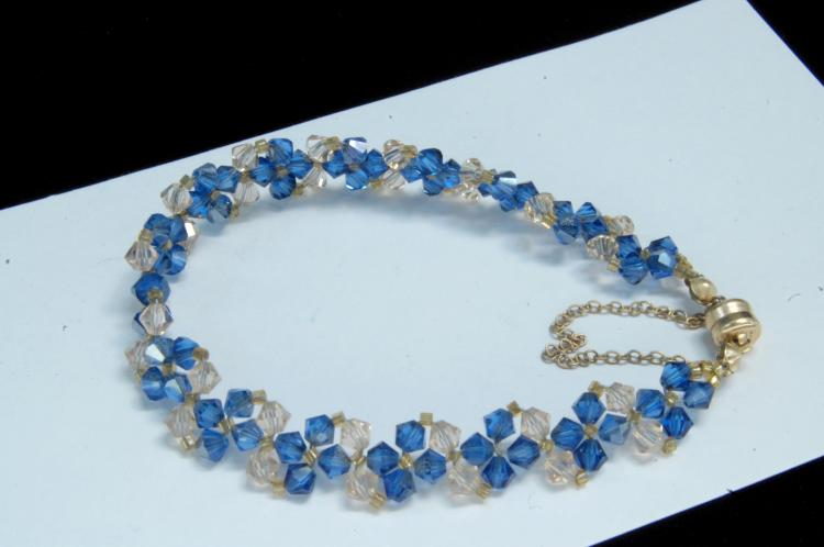 14k Gold Clasp Blue & White Crystal Beaded Bracelet