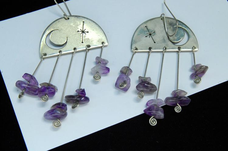 14g Sterling Amethyst Moon & Star Earrings