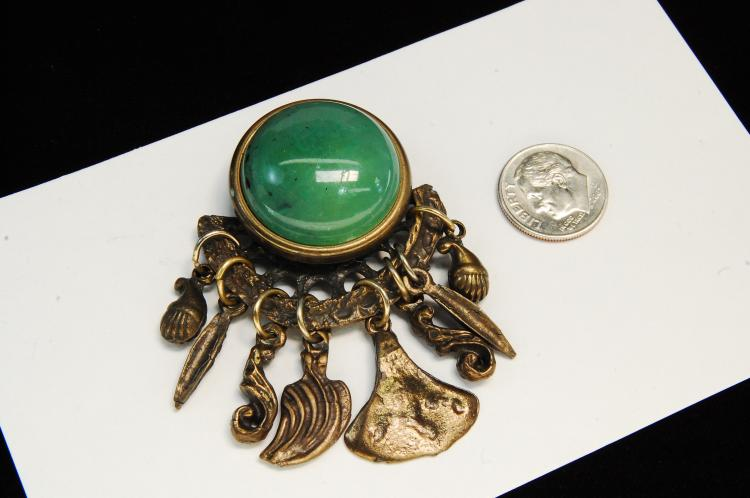 Lot 24: Vintage Bronze Ladies Dangle Brooch