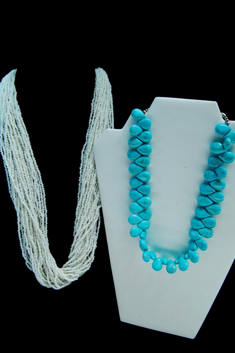 Chinese Turquoise & White Seed Bead Necklace Lot