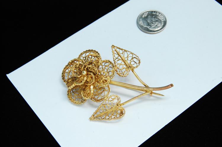 "Vintage ""CU"" Brass Filigree Flower Brooch"