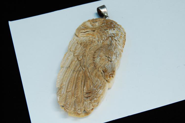 Carved 2 Sided Wooly Mammoth Ivory Pendant