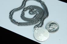 "Lot 38: Sterling ""Saint Christopher"" Medallion Necklace"