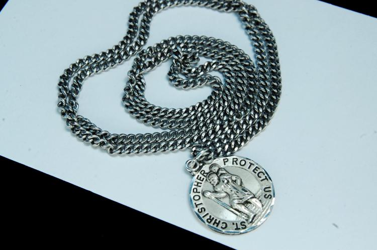 "Sterling ""Saint Christopher"" Medallion Necklace"