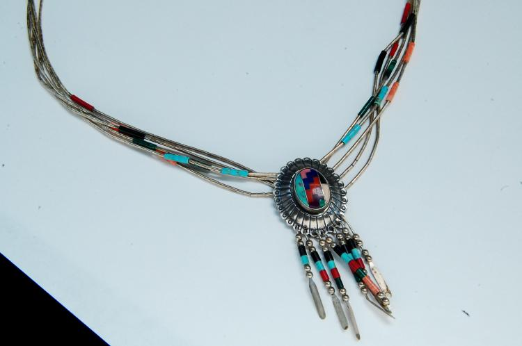 18g Sterling Zuni Inlaid Multi-Strand Necklace