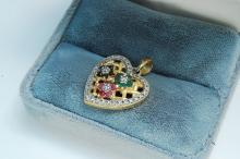 "Lot 43: Sterling Emerald Ruby Sapphire ""Heart"" Pendant"