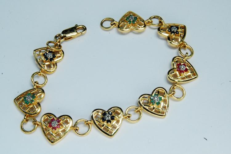 10g Sterling Ruby Sapphire Emerald Heart Bracelet