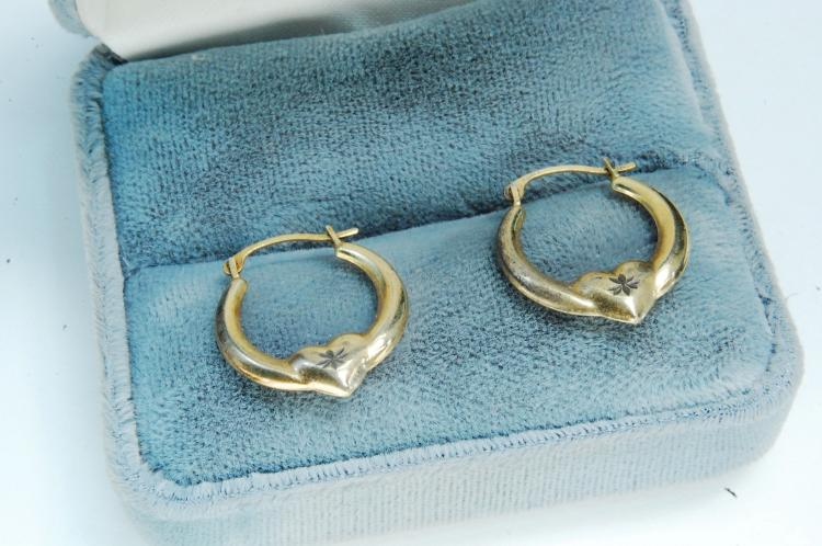 "Sterling Vermeil ""Israel"" Ladies Heart Earrings"