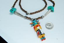 Lot 48: Sterling Turquoise Bead Handmade Kachina Necklace