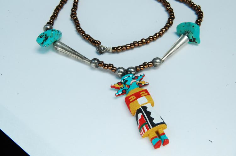 Sterling Turquoise Bead Handmade Kachina Necklace