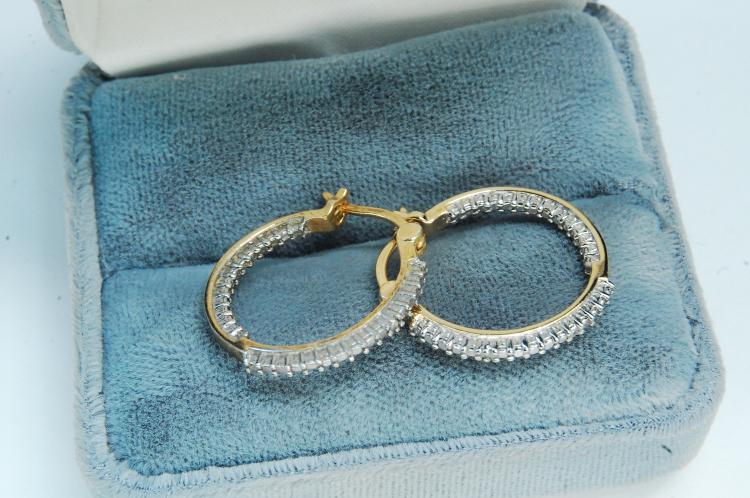 Sterling Silver Vermeil Ladies Hoop Earrings