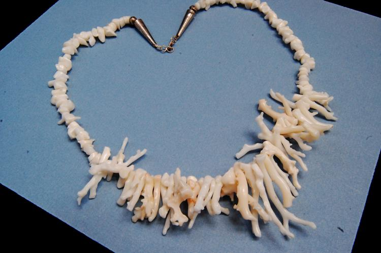 Natural White Coral Sprig Beaded Necklace