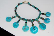Lot 52: Turquoise Garnet Bead Anklet Or Arm Band