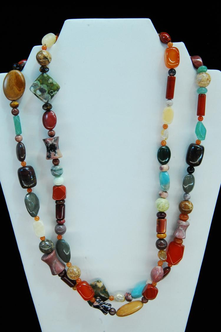 Carved Multi-Stone Specimen Beaded Necklace