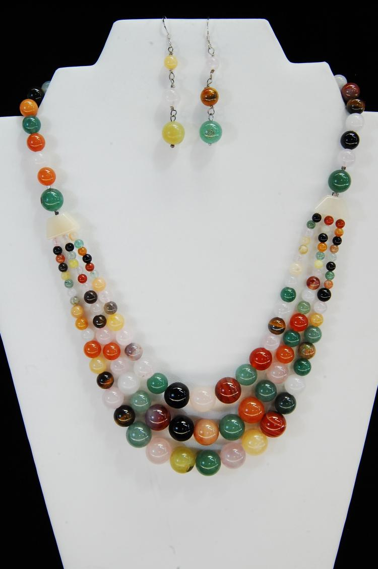 Carved Multi-Stone Multi-Strand Beaded Necklace