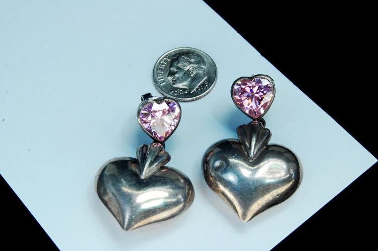 "Vintage 15g Sterling Pink CZ ""Heart Post Earrings"