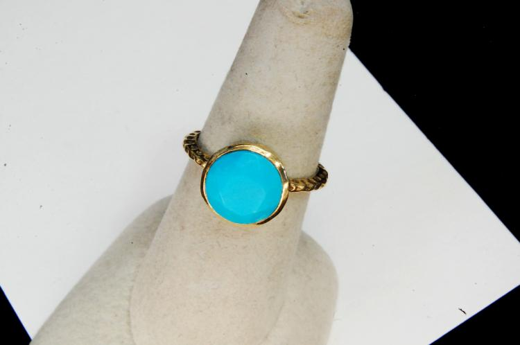 Lot 65: Vintage Handmade Sterling Turquoise Ring Sz 7.5