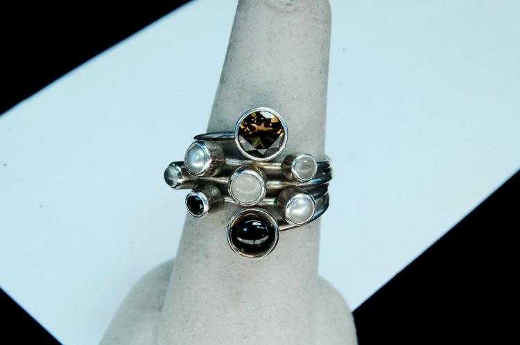 Sterling Smoky Topaz Pearl Selenite Ring Size 7