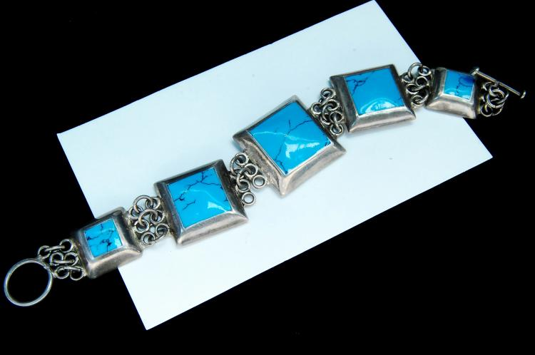 Lot 75: 55g Sterling Silver Chinese Turquoise Bracelet