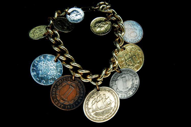 "Vintage ""Foreign Coin"" Charm Bracelet"