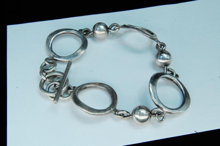 """Vintage 16g Sterling Silver """"Bead & Link"""" Bracelet"""