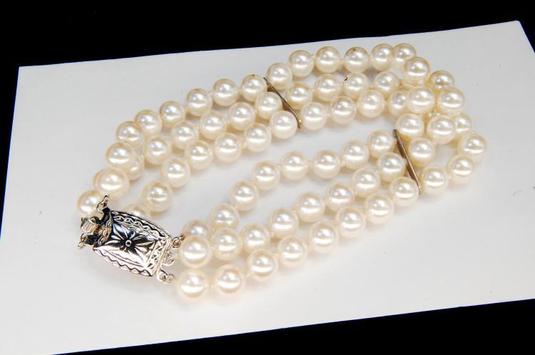 German Silver Faux Pearl Multi-Strand Bracelet