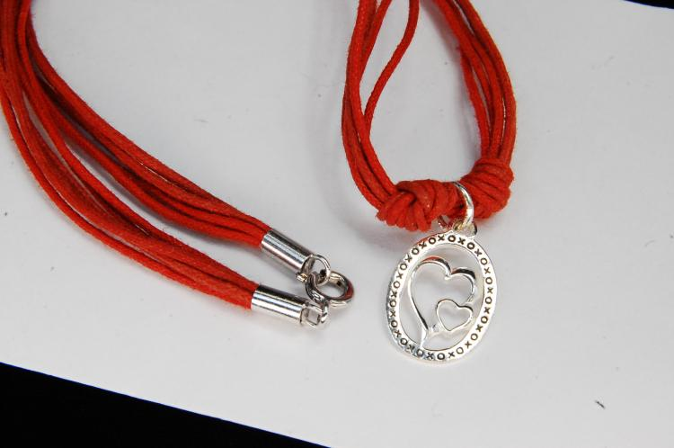 Sterling Silver Heart Pendant On Cord Necklace