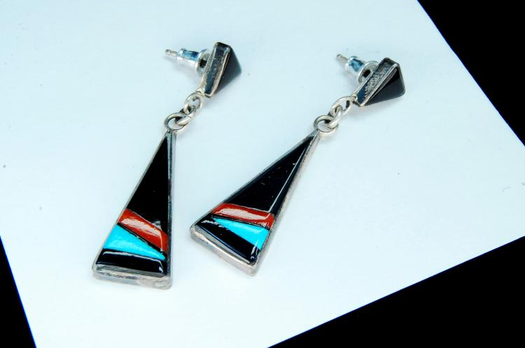 5.1g Sterling Zuni Inlaid Dangle Post Earrings