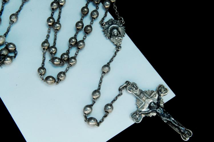 Lot 86: Antique 21g Sterling Silver Rosery W/ Crucifix