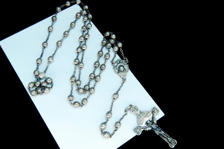Antique 21g Sterling Silver Rosery W/ Crucifix