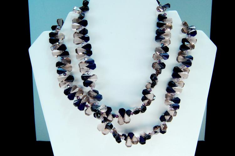 Sterling Amethyst Bead Double Strand Necklace