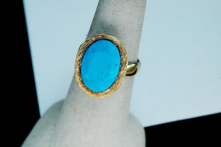 5g Sterling Silver Turquoise Handmade Ring Size 6