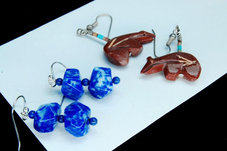 Lot 95: Lapis & Carved Jasper Bear Earring Lot Of 2