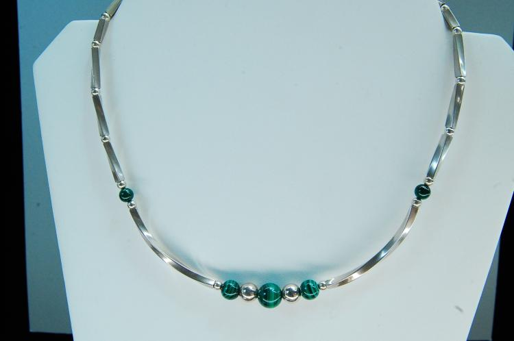 18g Sterling Silver Malachite Beaded Necklace