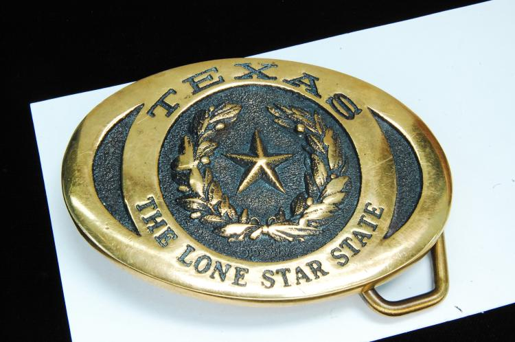 Texas The Lonestar State Solid Brass Belt Buckle
