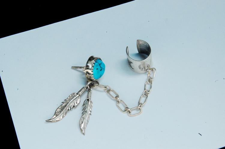 Sterling Turquoise Navajo Ladies Post Ear Cuff