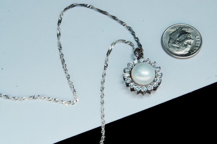Lot 118: Modern Sterling Pearl CZ Ladies Necklace